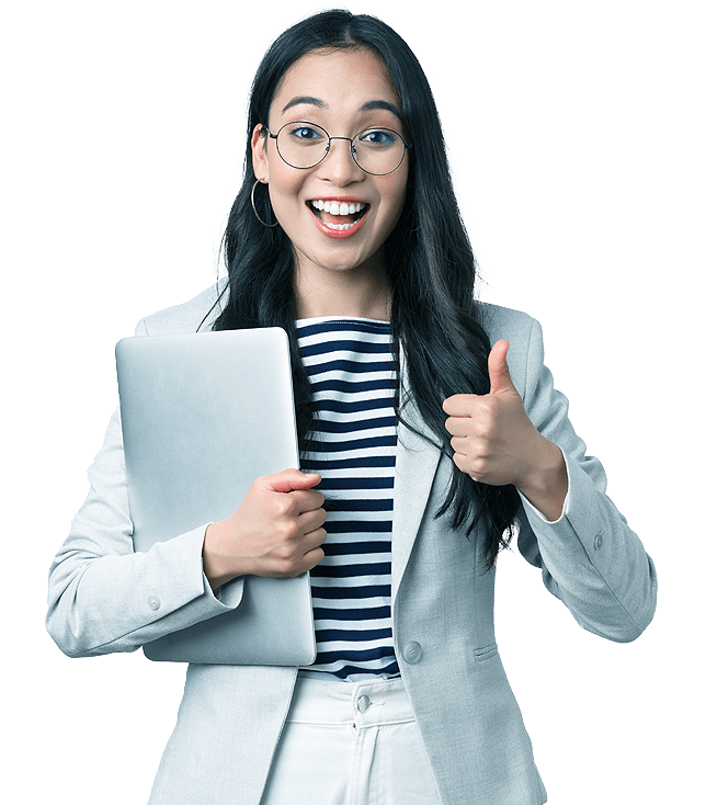 Small Business Marketing Agency employee gives thumbs up to affordable marketing solutions